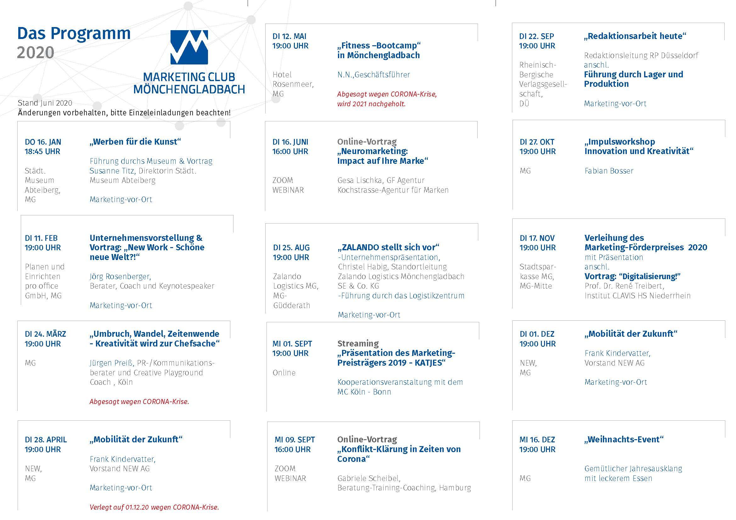 Programmübersicht 2020 des Marketing Club Mönchengladbach